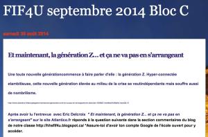 FIF4U septembre 2014 Bloc C : des élèves jugent mes informations surla génération Z