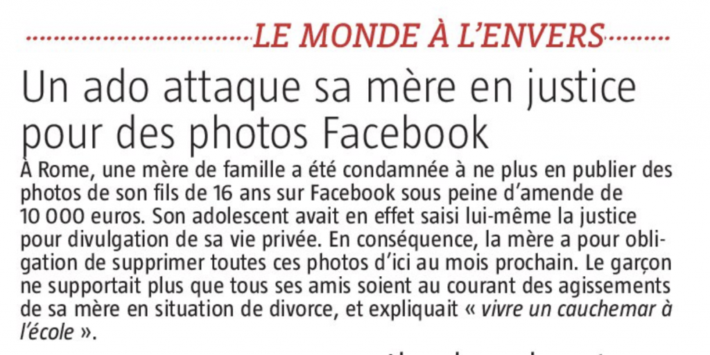 Un ado attaque sa mère en justice pour des photos Facebook
